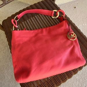 🔥EUC MKors Poppy Red Leather Handbag